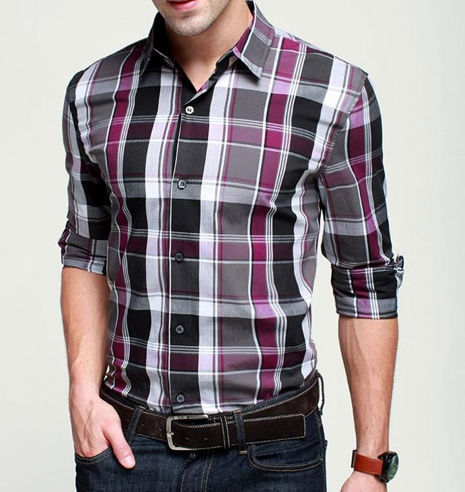 Promotion-men-s-Classic-pure-cotton-plaid-shirt-fashion-slim-leisure-long-sleeve-shirts-special-offer