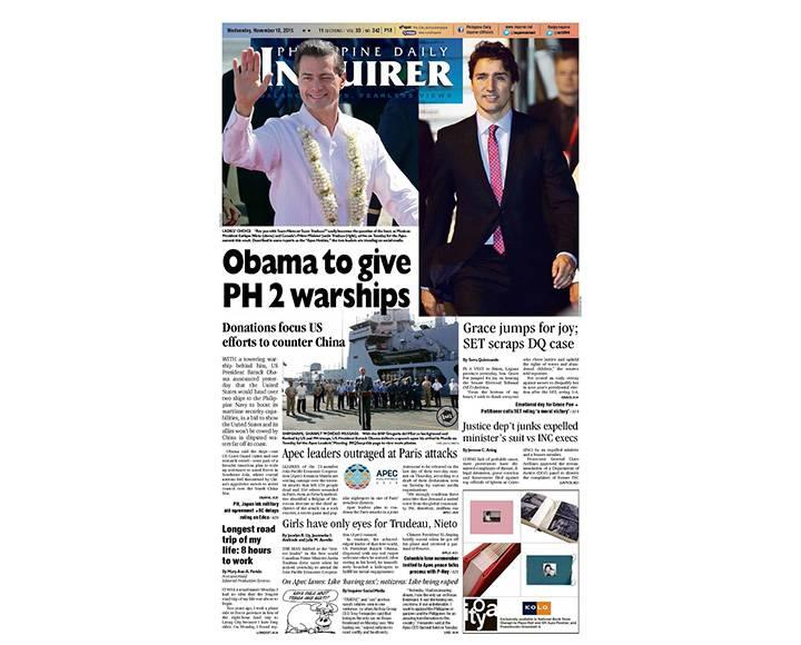 Team Nieto or Team Trudeau? Manila newspaper asks burning question.