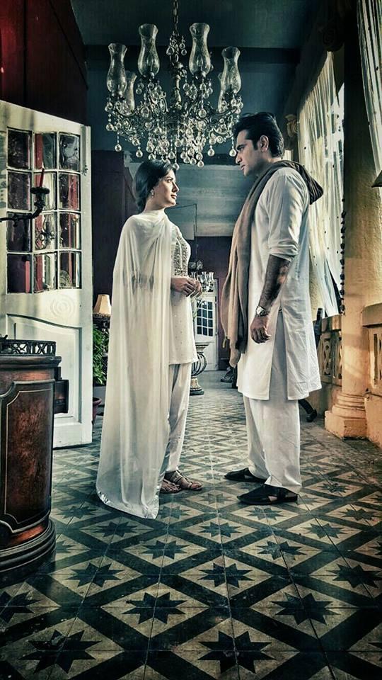 """Humayun Saeed and Mehwish Hayat on the sets of upcoming television serial """"Dillagi""""."""